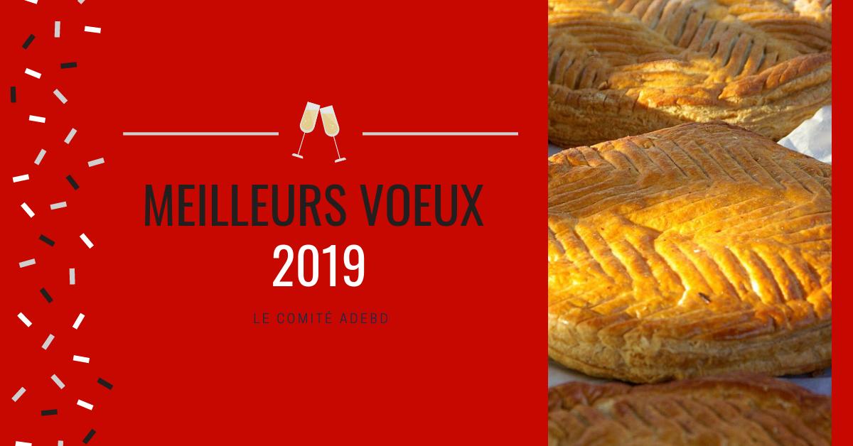 voeux 2019 pour la nouvelle année avec une galette et du champagne